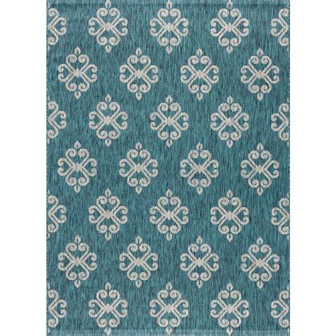 teal area rug 8x10 tayse rugs veranda teal 7 ft 10 in x 10 ft 3 in indoor