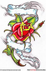 Beautiful Banner And Rose Tattoo Design