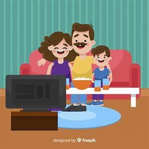 Famiglia Felice A Casa Con Design Piatto