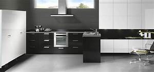 cuisine equipee moderne noire et blanche With cuisine equipee noir et blanc