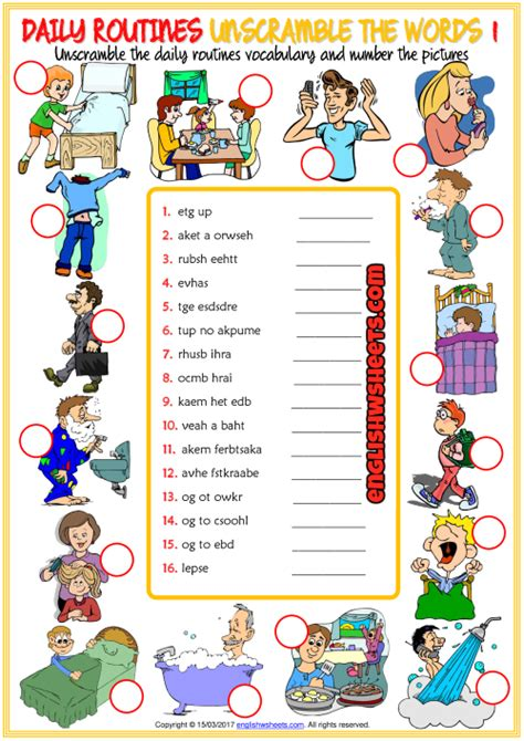 daily routines esl unscramble  words worksheets