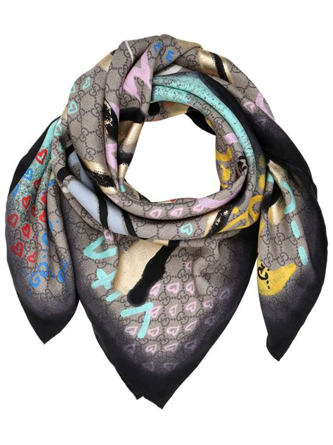 gucci ghost life print silk scarf beige natural lyst
