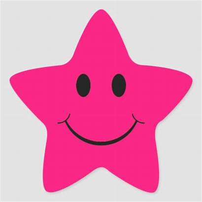 Star Pink Smiley Face Stickers Zazzle