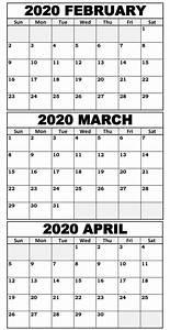 February 2020 Calendar Printable With Holidays Blank February To April 2020 Calendar Magic Calendar