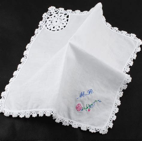 monogrammed handkerchief ladies hankie embroidered lace decoration personalized custom embroidered hanky
