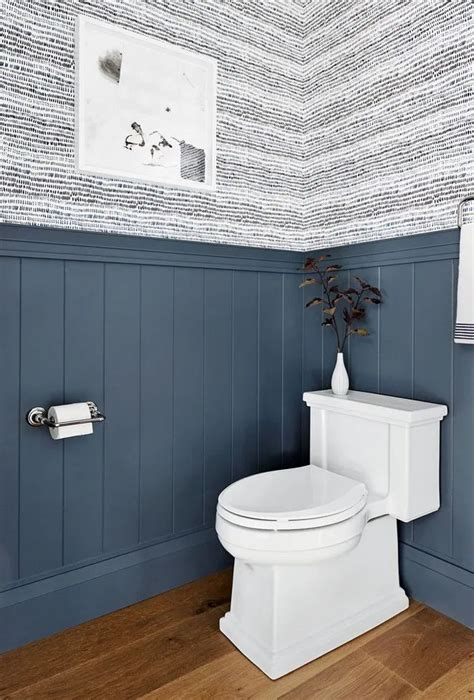 blue wainscotting small  bathrooms wainscoting