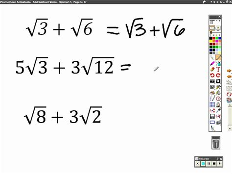 adding subtracting and multiplying dividing radicals