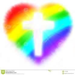 Rainbow Heart with Cross Clip Art