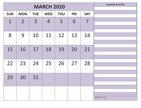march  monthly calendar template word
