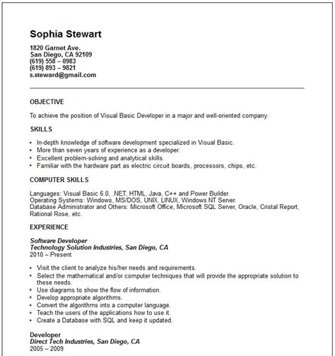 visual basic developer resume exle free templates