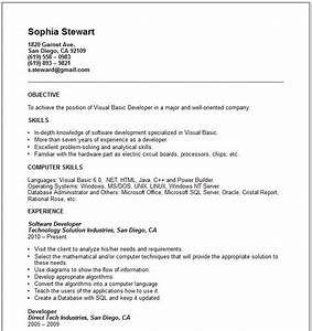 Visual basic developer Resume Example Free templates