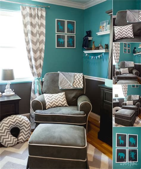 jacksons teal  grey chevron safari nursery project
