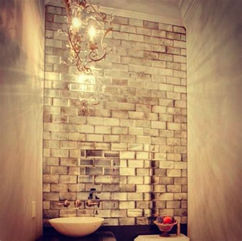mirrored subway tiles bathroom powder room antiqued mirror subway tiles pictures