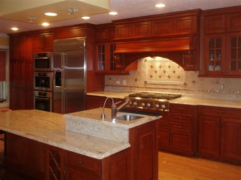 kitchen backsplash ideas with cherry cabinets ivory backsplash with cherry cabinets coffee machine 9057