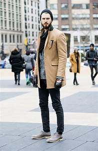Tan Coat With Beanie And Dark Jeans And Grey Shoes ...