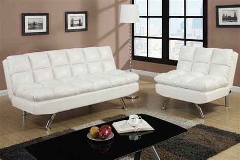 Poundex F7015 White Twin Size Leather Sofa Bed