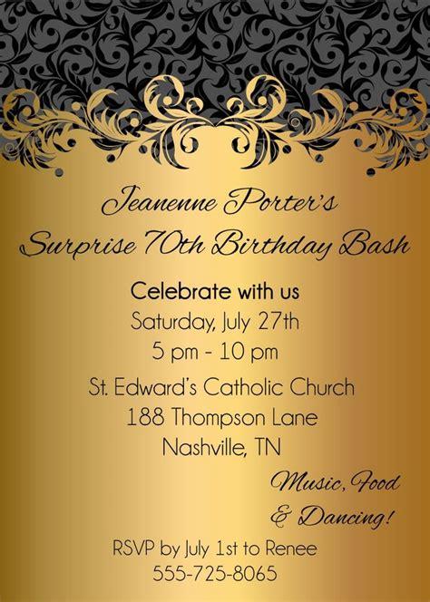 fabulous surprise  birthday bash invitation idea gold