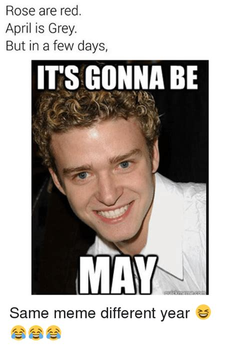 April Meme - rose are red april is grey but in a few days it s gonna be may same meme different year