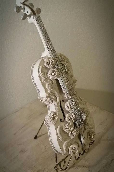 shabby cottage white antique violin lightly distressed and embellished one of a