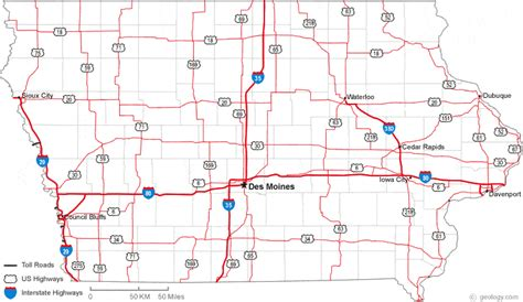 image gallery iowa road map geographical
