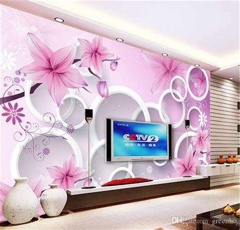 elegant pink lily photo wallpaper custom flowers wall