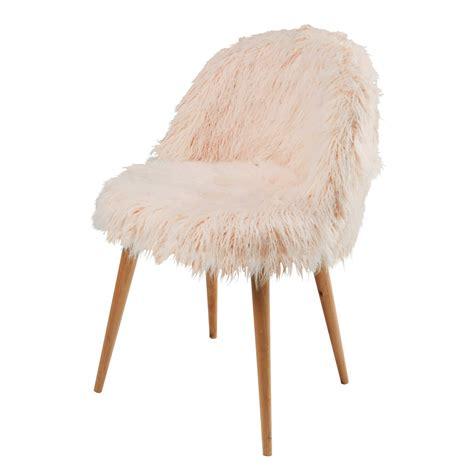 chaise fourrure pink faux fur vintage chair mauricette maisons du monde