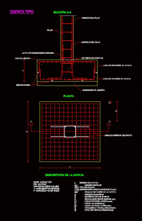 detail  zapata dwg detail  autocad designs cad