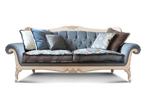 luxury sofa with carved details tufted backrest