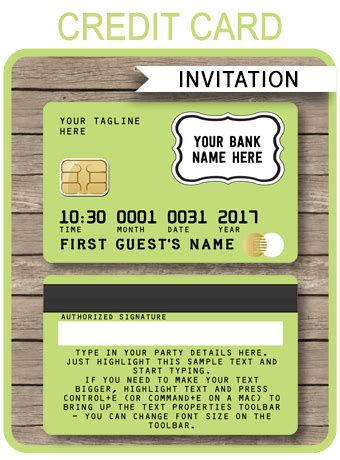 lime green credit card invitations mall scavenger hunt