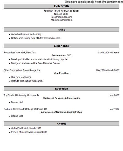 Resumizer Resume Creator Htm by Optimized Resume Exle Style 25