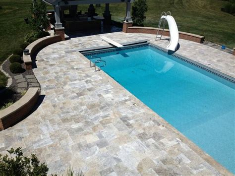 silver travertine patio overlay  projects pinterest