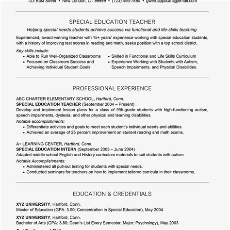 Special Education Resume by Special Education Resume Exle