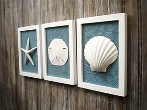 Cottage chic set of beach decor wall art nautical