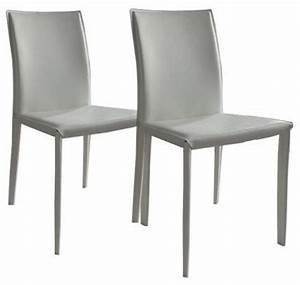 Chaises blanches simili cuir free table cm chaises lina for Meuble salle À manger avec chaise cuir blanc