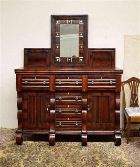 Server Buffet Sideboard by Monumental Large Empire Mahogany Sideboard Server