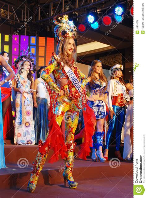Mixture Tradition Exoticism by Miss Wearing National Costume Editorial Photo