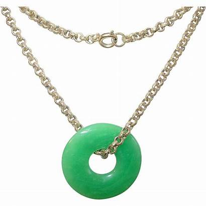 Jade Necklace Gold Pendant Filled