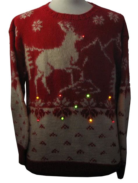 light up ugly sweater fifties multi colored flashing twinkling light up ugly