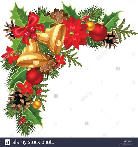 christmas decorative corner  fir tree branches balls