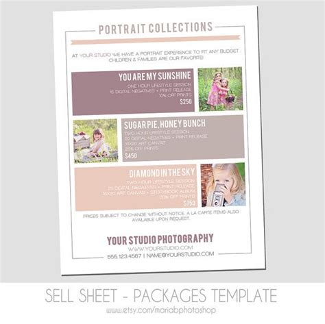 Marketing Package Template by Sell Sheet Collections Or Packages Pricing Template