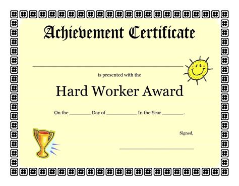 Award Template Achievement Certificate Templates Free Mughals
