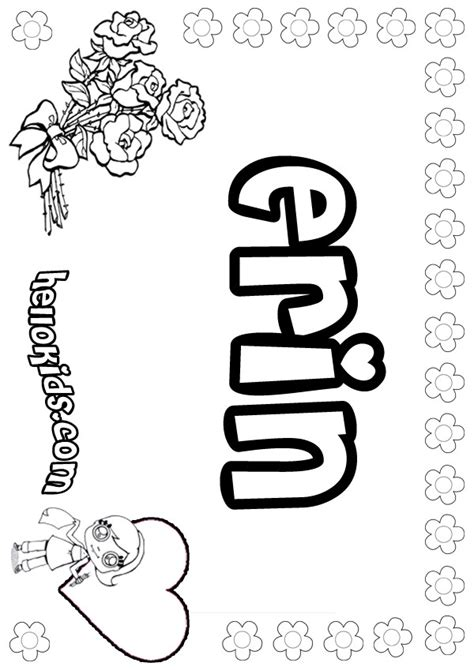 Coloring Names by Erin Coloring Pages Hellokids