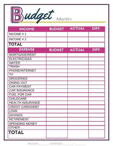 budget worksheets  images budgeting