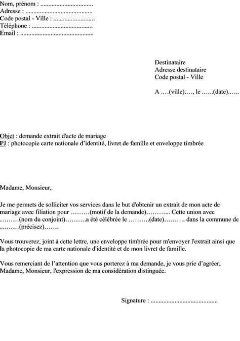 exemple acte de mariage modele lettre pour mariage civil