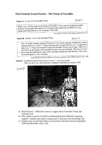 Treaty Of Versaille Source Question Teaching Resources