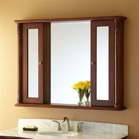 mirror medicine cabinet brown wooden board shelf with bathroom mirror and