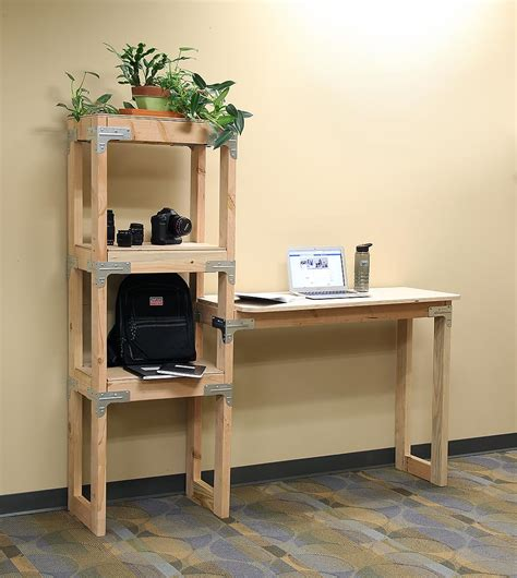 diy standing desk  shelving unit project sheet diy