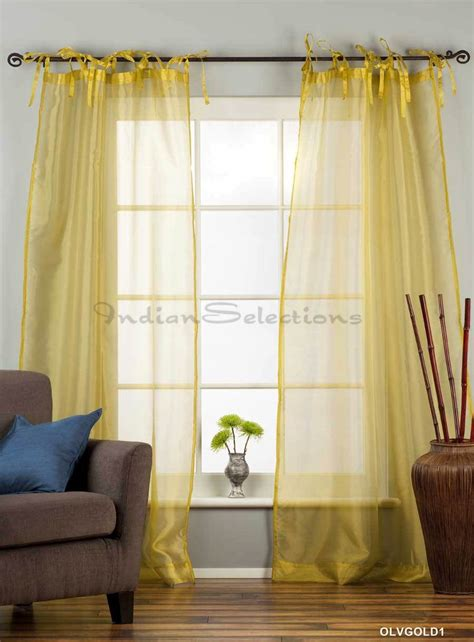 olive gold tie top sheer tissue curtain drape panel