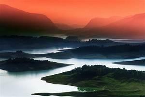 Nature, Landscape, Lake, Sunrise, Mountain, Mist, Red, Sky