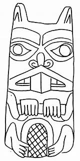 Coloring Pages Totem Beaver Pole Drawing Poles Native American Animal Outline Totems Craft Draw Sketch Beavers Animals Drawings Wolf Indian sketch template
